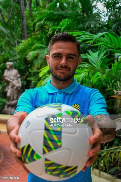 Australia's national soccer footballer Josh Risdon poses in San Pedro Sula Honduras on November 9 on the eve of the first leg football match of their...