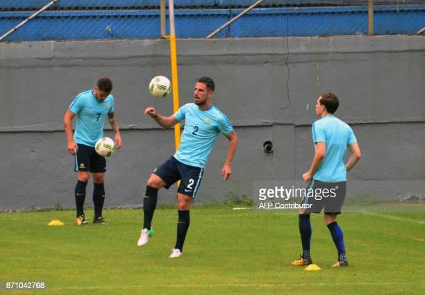 Australia's national team footballer Milos Degenek controls the ball during a training session at Francisco Morazan stadium in San Pedro Sula 180...
