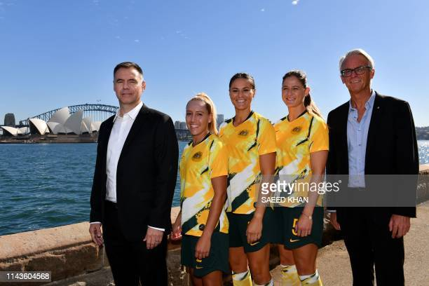 Australia's national women's football team coach Ante Milicic and Football Federation Australia Chief Executive Officer David Gallop pose for...