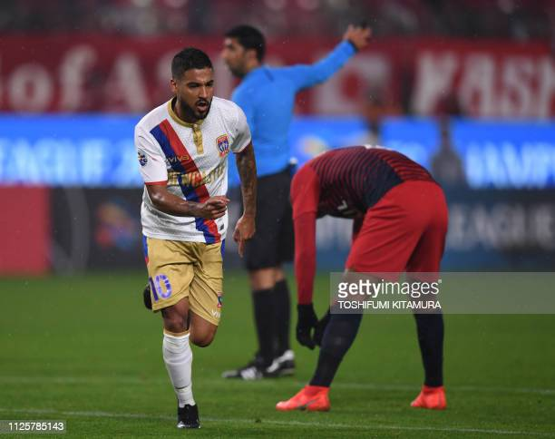 Australia's Newcastle Jets forward Ronald Vargas celebrates after scoring a goal during their AFC Champions League playoff football match against...