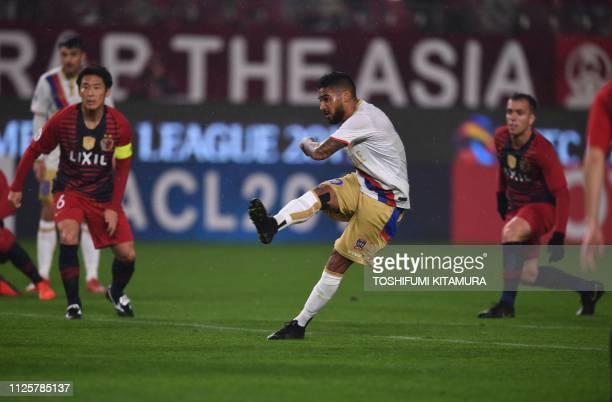 Australia's Newcastle Jets forward Ronald Vargas shoots to score a goal during their AFC Champions League playoff football match against Japan's...
