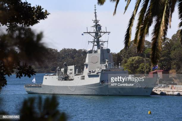 Australia's newest warship the HMAS Hobart a Hobartclass air warfare destroyer is moored at the Garden Island naval base in Sydney on October 12 2017...