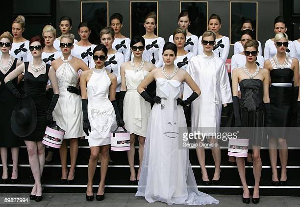 Australia's Next Top model winner Tahnee Atkinson madeup to look like screen star Audrey Hepburn joins 50 models to celebrates Hepburn's 80th...