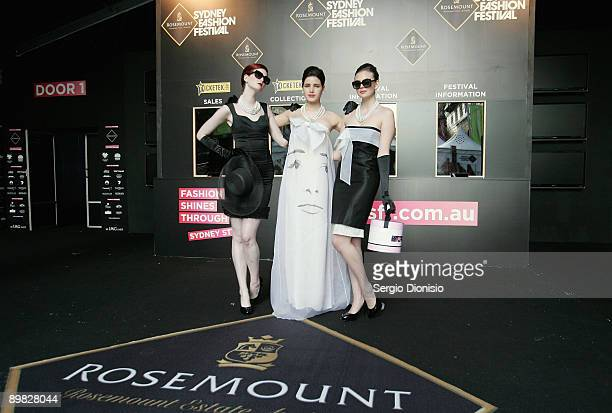 Australia's Next Top model winners Alice Burdeau Tahnee Atkinson and Demelza Reveley madeup to look like screen star Audrey Hepburn pose to celebrate...