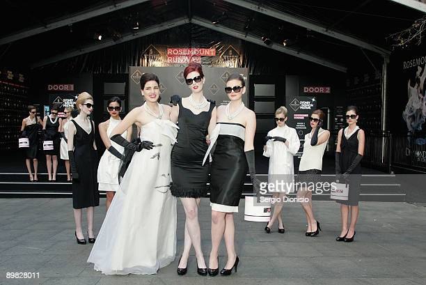 Australia's Next Top model winners Tahnee Atkinson Alice Burdeau and Demelza Reveley madeup to look like screen star Audrey Hepburn pose in front of...
