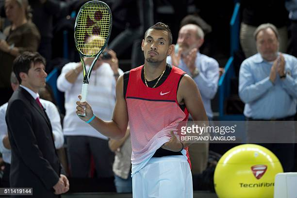Australia's Nick Kyrgios gestures after beating Czech Republic's Tomas Berdych in the ATP Marseille Open 13 semi-final tennis match in Marseille,...