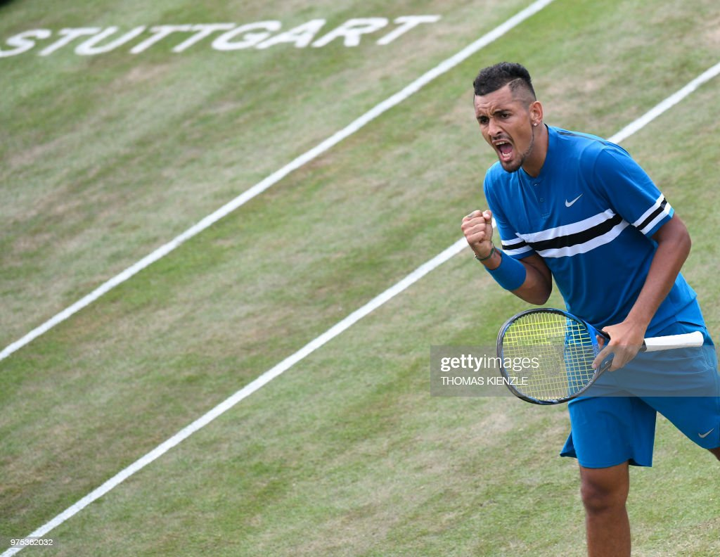 Australia's Nick Kyrgios reacts after a point against Spain's Feliciano Lopez in their quarterfinal match at the ATP Mercedes Cup tennis tournament in Stuttgart, southwestern Germany, on June 15, 2018.