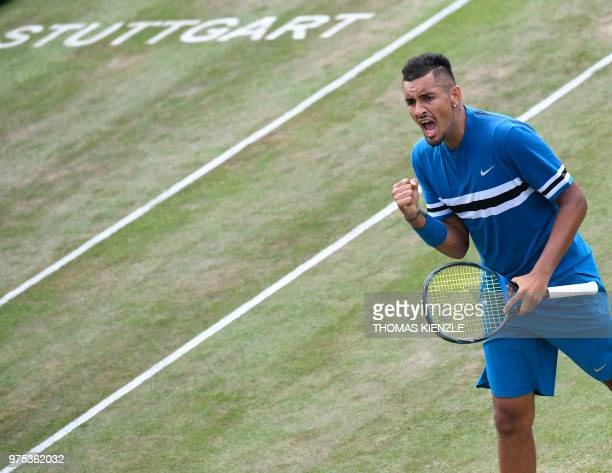Australia's Nick Kyrgios reacts after a point against Spain's Feliciano Lopez in their quarterfinal match at the ATP Mercedes Cup tennis tournament...