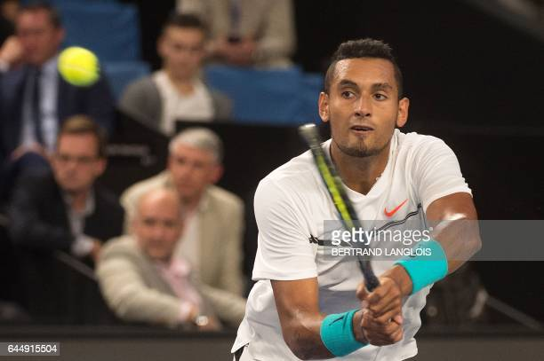 Australia's Nick Kyrgios returns the ball to Slovakia's Norbert Gombos during their ATP Marseille Open 13 tennis match in Marseille, southern France,...