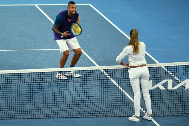 Australia's Nick Kyrgios talks to the umpire as he plays against France's Ugo Humbert during their men's singles match on day three of the Australian...