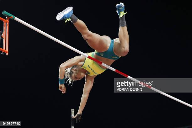 Australias Nina Kennedy competes in the athletics women's pole vault final during the 2018 Gold Coast Commonwealth Games at the Carrara Stadium on...
