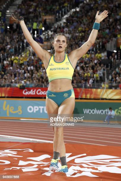 Australias Nina Kennedy reacts in the athletics women's pole vault final during the 2018 Gold Coast Commonwealth Games at the Carrara Stadium on the...
