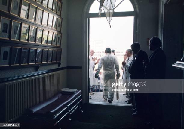 Australia's opening batsmen Mark Taylor and Matthew Elliott walk out to bat during the 5th Test match between England and Australia at Trent Bridge...