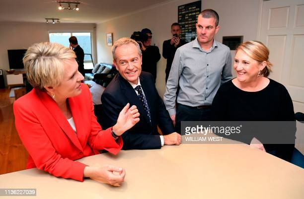Australia's opposition Labor leader Bill Shorten and deputy leader Tanya Plibersek chat with Jacqui and Richard Davis during the first day of the...