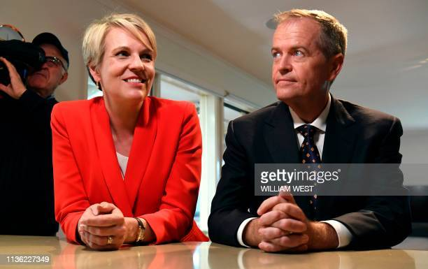 Australia's opposition Labor leader Bill Shorten and deputy leader Tanya Plibersek face the media during the first day of the election campaign in...