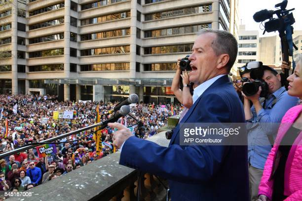 Australia's opposition leader Bill Shorten addresses a samesex marriage rally in Sydney on September 10 2017 Thousands of samesex marriage supporters...