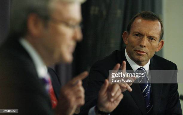 Australia's opposition leader Tony Abbott speaks during a debate against Prime Minister Kevin Rudd at the National Press Club on March 23 2010 in...