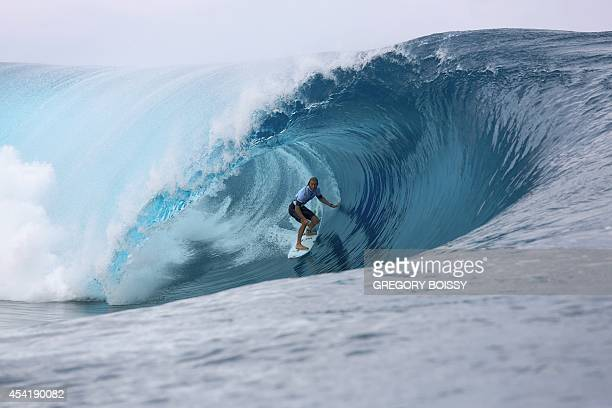 Australia's Owen Wright rides a wave during the finale of the 14th edition of the Billabong Pro Tahiti surf event part of the ASP world tour on...
