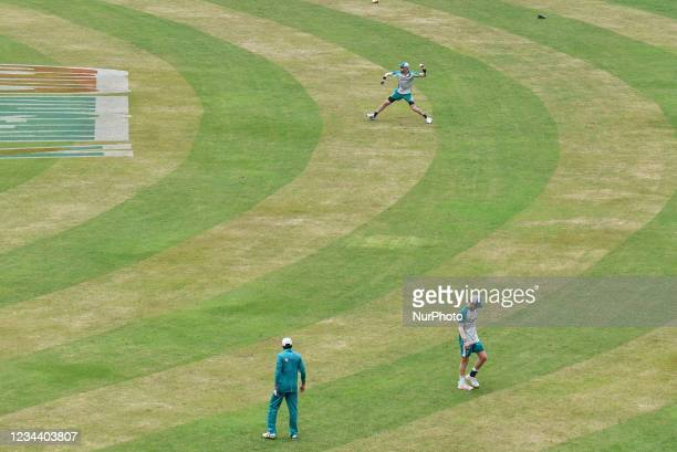 Australia's players attend a practice session at the Sher-e-Bangla National Cricket Stadium in Dhaka, Bangladesh on August 2, 2021. Ahead of their...