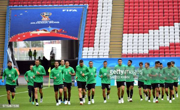 Australia's players attend a training session at the Kazan Arena on June 15 2018 in Kazan on the eve of the Russia 2018 World Cup Group C football...