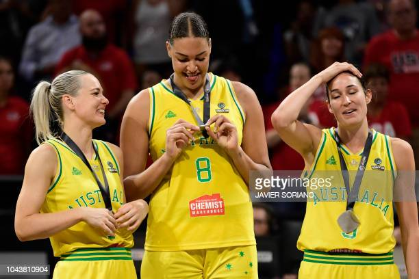Australia's players celebrate on the podium with their silver medals after the FIBA 2018 Women's Basketball World Cup final match between Australia...