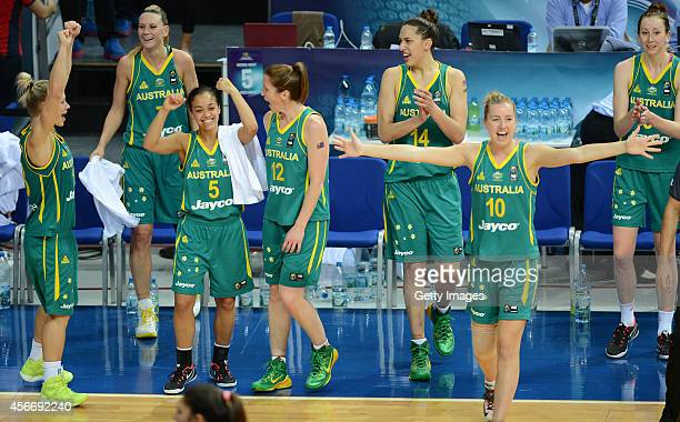 Australia's players celebrate their win agaist Turkey in the 2014 FIBA Women's World Championships 3rd place basketball match at Fenerbahce Ulker...
