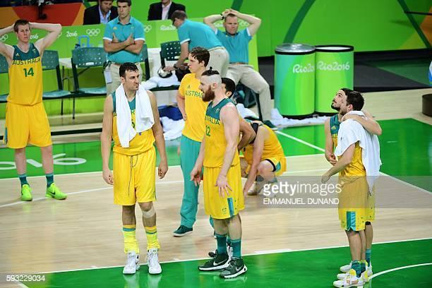 Australia's power forward Brock Motum, Australia's centre Andrew Bogut, Australia's forward Cameron Bairstow, Australia's forward Aron Baynes,...