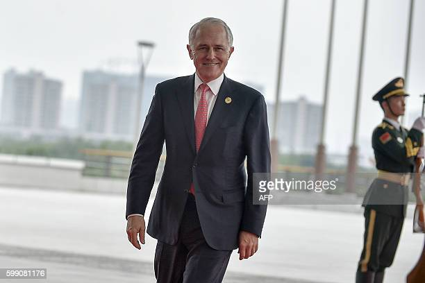 Australia's Prime Minister Malcolm Turnbull arrives at the Hangzhou International Expo Center to attend the G20 Summit in Hangzhou on September 4,...