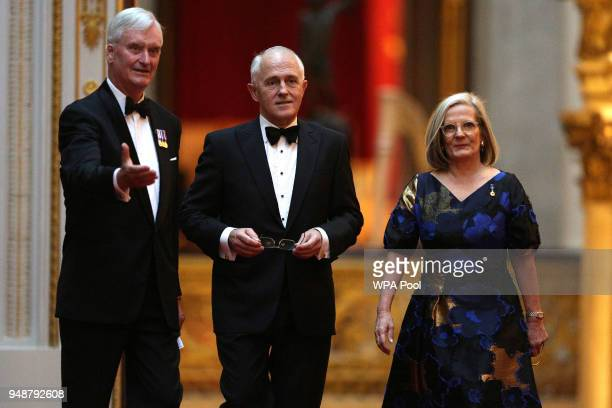 Australia's Prime Minister Malcolm Turnbull arrives to attend The Queen's Dinner during The Commonwealth Heads of Government Meeting at Buckingham...