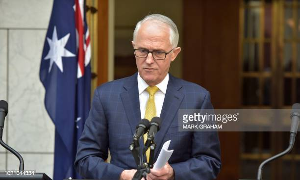 Australia's Prime Minister Malcolm Turnbull attends a press conference in Parliament House in Canberra on August 22 2018 The embattled leader...