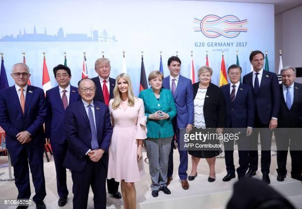 Australia's Prime Minister Malcolm Turnbull Japan's Prime Minister Shinzo Abe World Bank Group President Jim Yong Kim US President Donald Trump his...