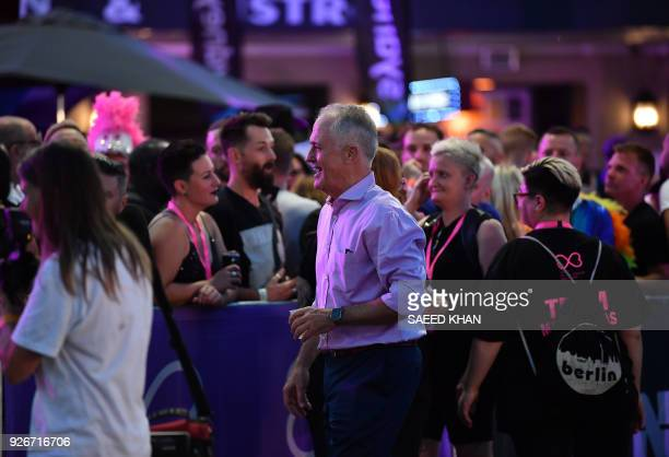 Australia's Prime Minister Malcolm Turnbull meets with the participants of the annual Gay and Lesbian Mardi Gras parade in Sydney on March 3 2018...