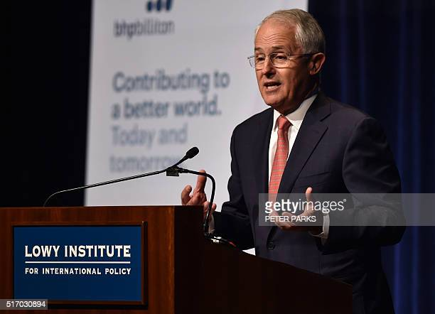 Australia's Prime Minister Malcolm Turnbull speaks at the annual Lowy Lecture a foreign policy think tank in Sydney on March 23 2016 Turnbull earlier...
