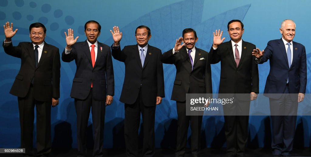 Image result for Hun Sen with Turnbull at ASEAN-Australia Special Summit 2018