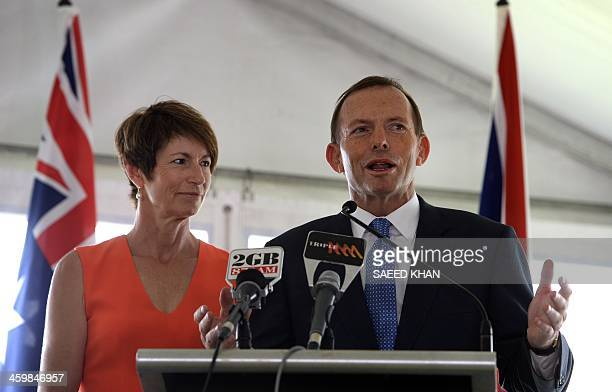 Australia's Prime Minister Tony Abbott along with his wife Margie Abbott speaks during a New Year's Day reception hosted for England and Australia...