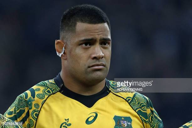 Australia's prop Scott Sio lines up ahead of the international rugby union test match between England and Australia at Twickenham stadium in...