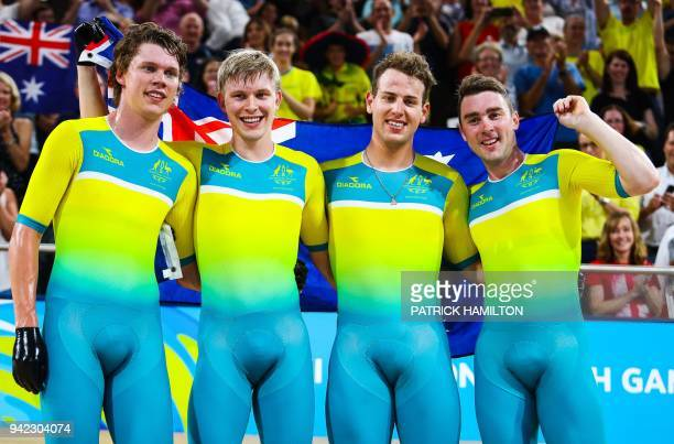 Australia's Pursuit Team Sam Welsford Alex Porter Jordan Kerby and Leigh Howard celebrate victory following the Men's cycling 4000m Team Pursuit...