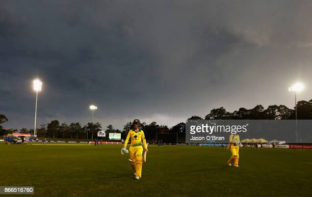 Australia's Rachael Haynes walks off after her innings during the Women's One Day International match between Australia and England on October 26...