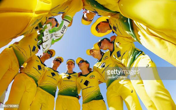 Australia's Rachel Haynes adresses her players during the Women's One Day International between Australia and England at Allan Border Field on...