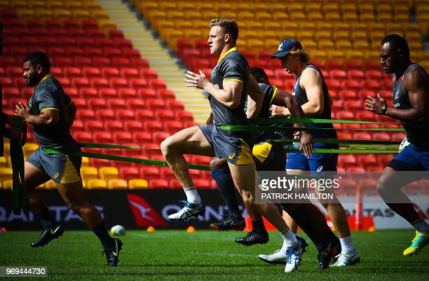 Australia's Reece Hodge attends the captain's run training session at Suncorp Stadium in Brisbane on June 8 ahead of the rugby match between...
