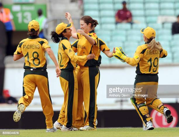 Australia's Rene Farrell celebrates after taking the wicket of Sarah Taylor during the ICC Women's World Twenty20 Semi Final at The Oval London