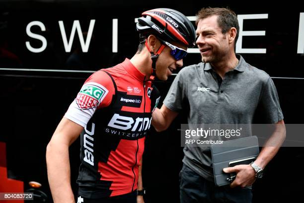 Australia's Richie Porte and retired Australia's cyclist and former of BMC Cadel Evans are pictured prior to a training session in Dusseldorf Germany...