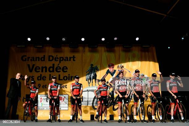 Australia's Richie Porte and riders of USA's BMC Racing cycling team pose on stage during the team presentation ceremony on July 5 2018 in La...