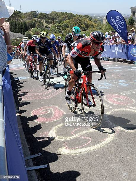 Australias Richie Porte of BMC Racing Team takes part in the Cadel Evans Great Ocean Road Race cycling event in Geelong near Melbourne on January 29...
