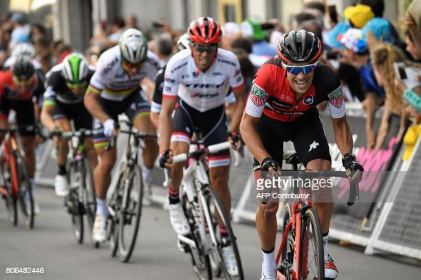 Australia's Richie Porte rides ahead of Spain's Alberto Contador and Slovakia's Peter Sagan during the 2125 km third stage of the 104th edition of...
