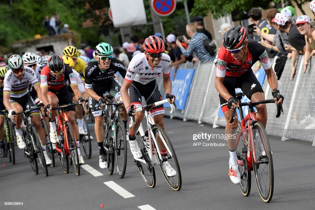 Australia's Richie Porte (R) rides ahead of Spain's Alberto Contador (2ndR), Poland's Rafal Majka (3rdR), Belgium's Greg Van Avermaet (4thR) and Slovakia's Peter Sagan (L), during the 212,5 km third stage of the 104th edition of the Tour de France cycling race on July 3, 2017 between Verviers, Belgium and Longwy, France. /