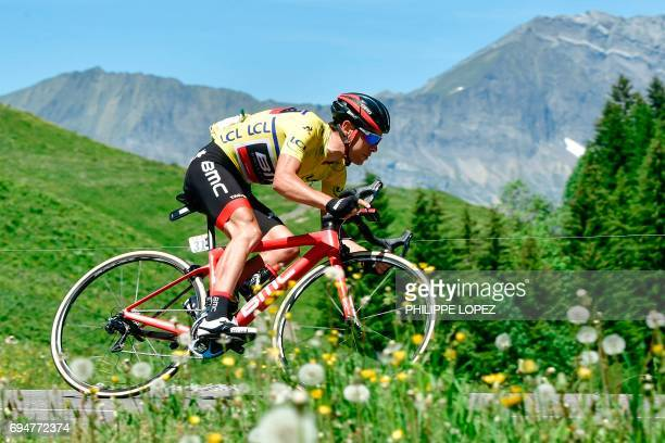 Australia's Richie Porte wearing the overall leader's yellow jersey rides during the 115 km eighth stage of the 69th edition of the Criterium du...