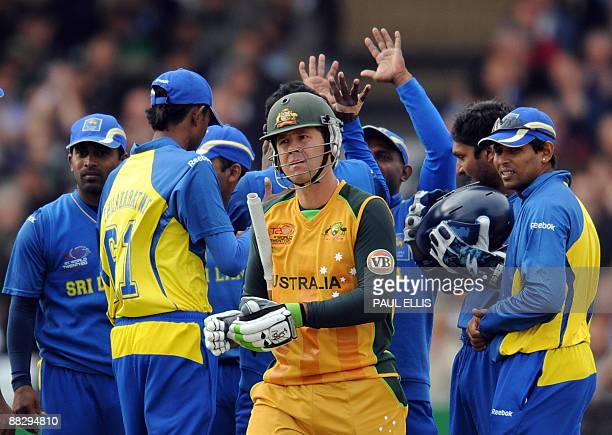 Australia's Ricky Ponting is dismissed for 35 runs against Sri Lanka during the ICC World Twenty 20 cricket match at Trent Bridge Nottingham England...