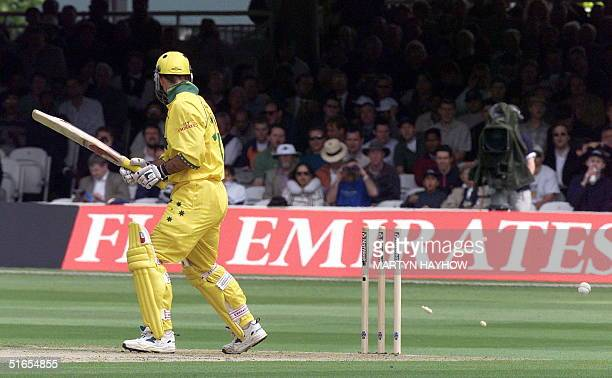 Australia`s Ricky Ponting looks back to see his bails flying after he was bowled by Henry Olonga in the match between Zimbabwe v Australia in the...