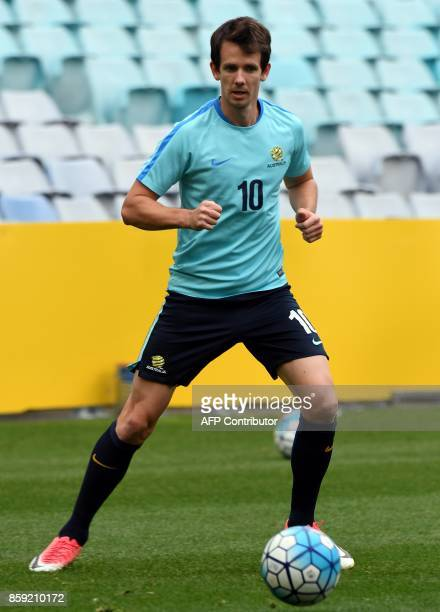 Australia's Robbie Kruse attends a training session in Sydney on October 9 on the eve of their 2018 World Cup football qualifying match against Syria...